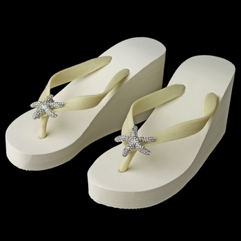 Starfish Rhinestone High Wedge Flip Flops