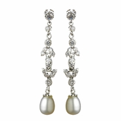 Stunning Cubic Zirconia Crystal & Pearl Drop Bridal Earrings E 2525 ** 0 Left ****