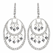 Stunning Silver Crystal Earrings Hoop E 944