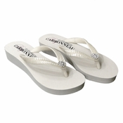 Summer ~ Low Heel White Wedge Flip Flops with Sequins & Swarovski Crystals