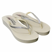 Sunshine ~ Low Heel Ivory Wedge Flip Flops with Crystal Straps