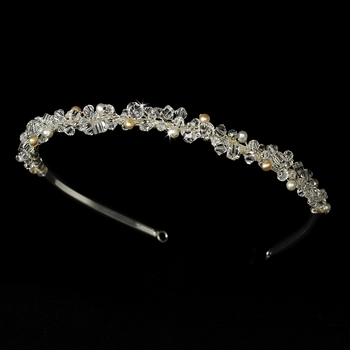 * Headband with Rum Pink Freshwater Pearl & Swarovski Crystal Bead Accents