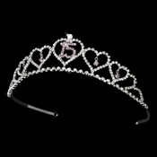Sweet 15 Quincea�era Tiara Covered in Clear & Lavender Rhinestones 460