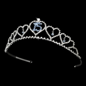 Sweet 15 Quincea�era Tiara Covered in Clear & Light Blue Rhinestones 460