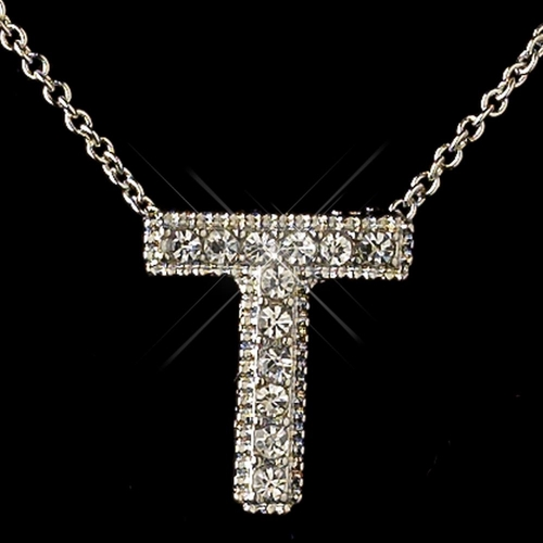 """""""T"""" Clear Rhinestone Letter Initial Pendant Necklace 1"""