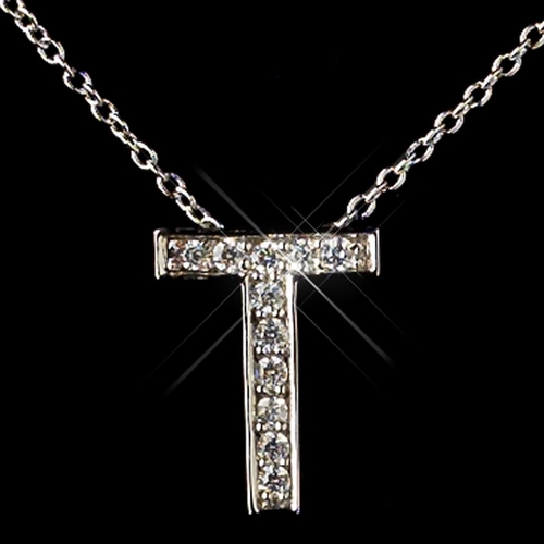 """""""T"""" Sterling Silver CZ Crystal Initial Necklace 4407"""