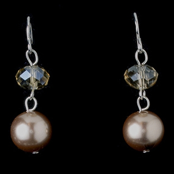 Taupe Swarrovski & Pearl Earring 8362 Taupe