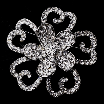 Three Layer Antique Silver Rhinestone Flower Brooch 30432