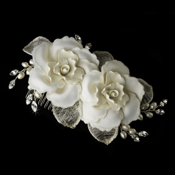 Twin Rose Bridal Hair Comb 8322