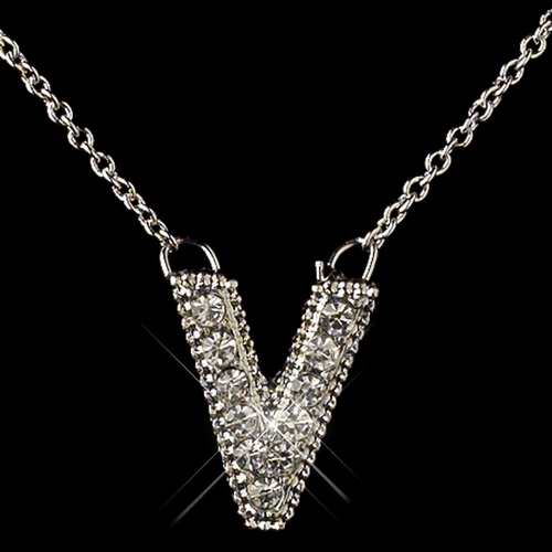 """""""V"""" Clear Rhinestone Letter Initial Pendant Necklace 1"""