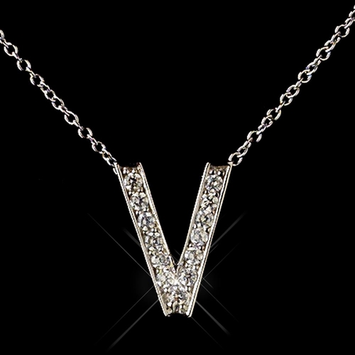 """""""V"""" Sterling Silver CZ Crystal Initial Necklace 4407"""
