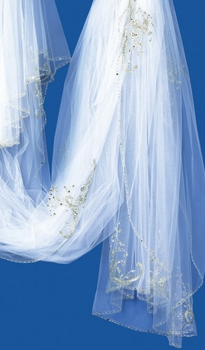 Double Tulle Cathedral Length Veil with Shimmering Embroidery V 1959