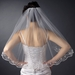 Veil 596 Ivory - Single Layer Elbow Length w/ Scalloped Edge, crystals, bugle beads & french vic...