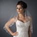 Veil 596 White - Single Layer Elbow Length w/ Scalloped Edge, crystals, bugle beads & french vic...