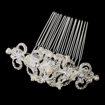 Victorian Crystal Accent  Versatile Hair Piece 13088 Silver