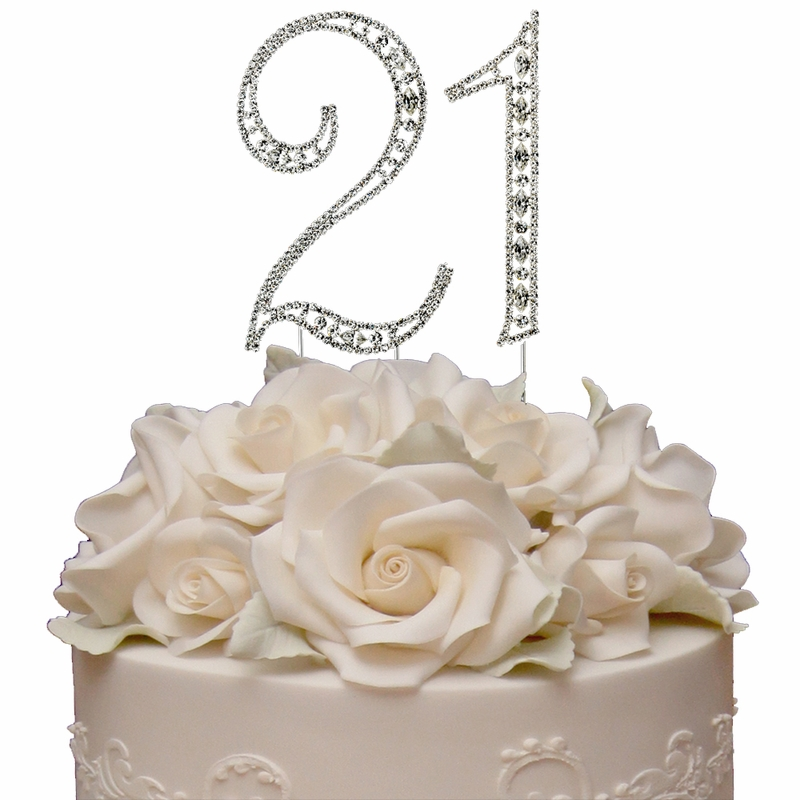 Large Rhinestone Crystal Covered 21 21st Birthday Anniversary Number Cake Topper