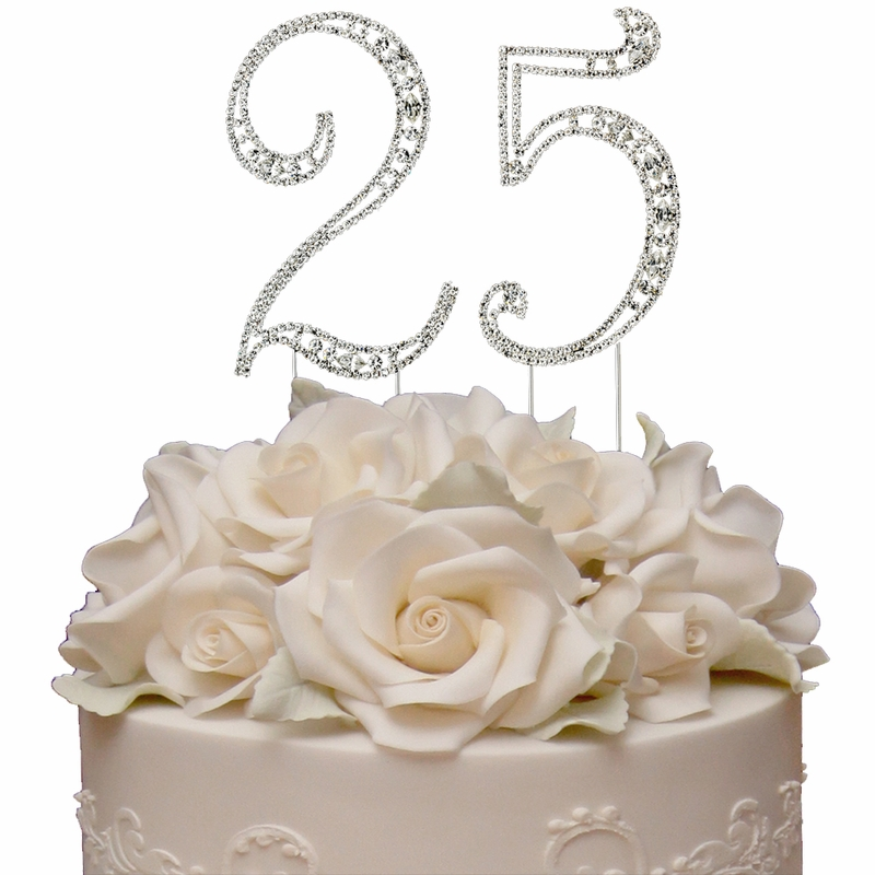 Vintage 25th Anniversary Birthday Swarovski Crystal Cake Topper