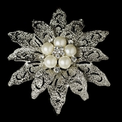 Vintage Antique Silver and Rhinestone & Diamond White Pearl Bridal Brooch 38
