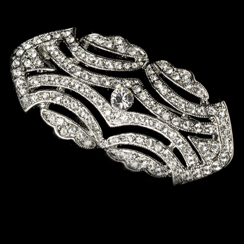 Vintage Antique Silver Cubic Zirconia Bridal Brooch 3163