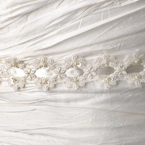 * Vintage Fabric & Satin Ribbon Belt or Headband 8208 with Pearls, Beads, & Sequins