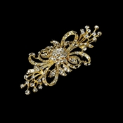 Vintage Gold Plated Clear Rhinestone Bridal Brooch 3268