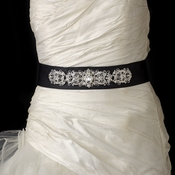 Vintage Rhinestone Crystal Wedding Sash Bridal Black Belt 25