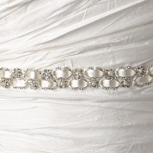 Vintage Satin Ribbon Belt or Headband 6467 with Clear Crystals