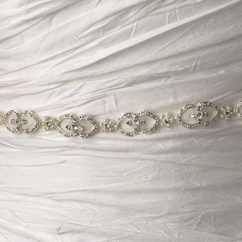 * Vintage Satin Ribbon Belt or Headband 6469 with Pearls