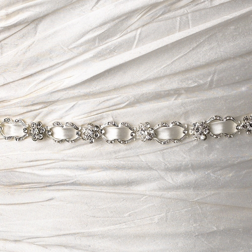 Vintage Satin Ribbon Belt or Headband 6472 with Clear Crystals