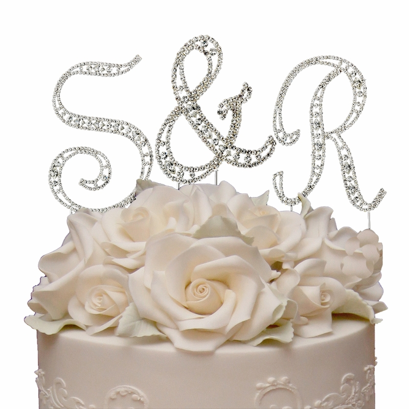 swarovski crystal monogram wedding cake topper vintage small swarovski monogram wedding cake 20674