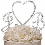 Vintage Swarovski Crystal Monogram Heart Wedding Cake Topper Set