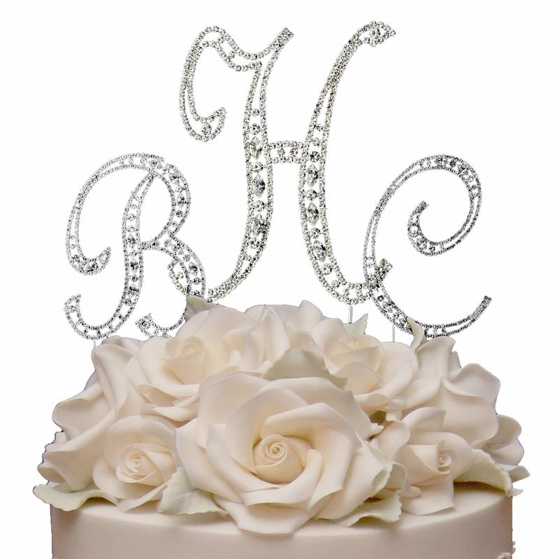 swarovski crystal monogram wedding cake topper vintage swarovski monogram wedding cake topper set 20674