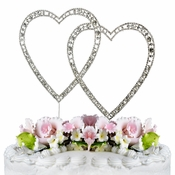 Vintage ~ Swarovski Crystal Wedding Cake Topper ~ Double Silver Heart