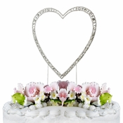 Vintage ~ Swarovski Crystal Wedding Cake Topper ~ Single Large Silver Heart