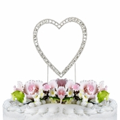Vintage ~ Swarovski Crystal Wedding Cake Topper ~ Single Small Silver Heart