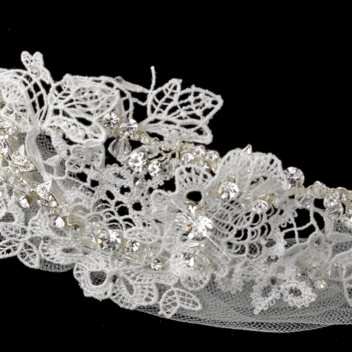 ✧SPECIAL ORDER ONLY✧Vintage White Floral Lace, Tulle & Sheer Organza Ribbon Headband