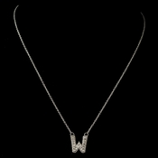 """W"" Clear Rhinestone Letter Initial Pendant Necklace 1"
