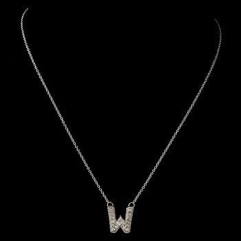 """""""W"""" Clear Rhinestone Letter Initial Pendant Necklace 1"""