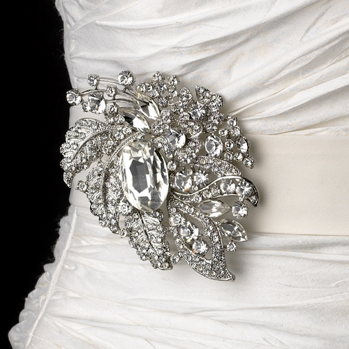 Wedding Sash Bridal Belt with Silver Clear Crystal Leaf Brooch 129