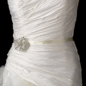 Wedding Sash Bridal Belt with Silver Crystal Vintage Floral Brooch 138