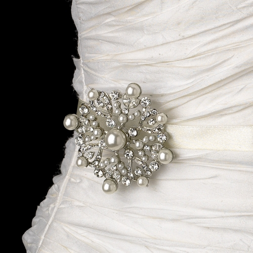 Wedding Sash Bridal Belt with Silver Pearl & Crystal Snowflake Brooch 137