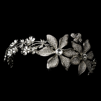 Whimsical Antique Silver Side Accented Flower & Butterfly Headpiece 9944