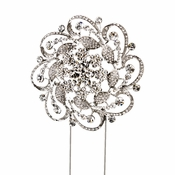 Whirling Rhinestone Covered Flower Cake Topper in Silver 1025