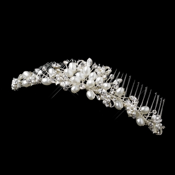 * White Pearl and Crystal Bridal Comb 4008
