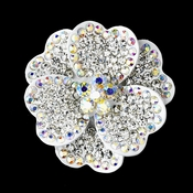 * White with Clear and Aurora Borealis Rhinestone Brooch 30503