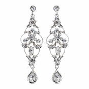 Wonderful Silver Clear Crystal Chandelier Earrings 1064