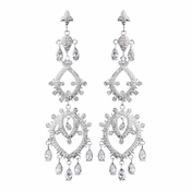 Wonderful Silver Clear CZ Chandelier Earrings 8633