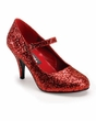 "3"" Heel Red Glitter Mary Jane Shoes"