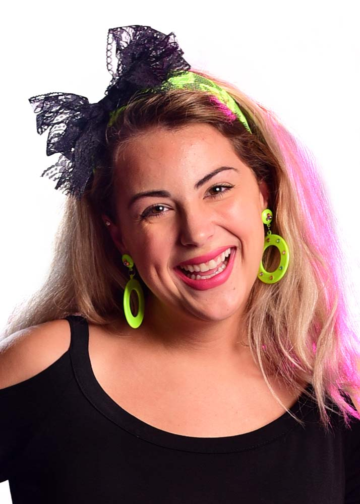 80 s Neon Lace Bow Headband - Candy Apple Costumes - 80 s Costumes 9b3c6ac216a