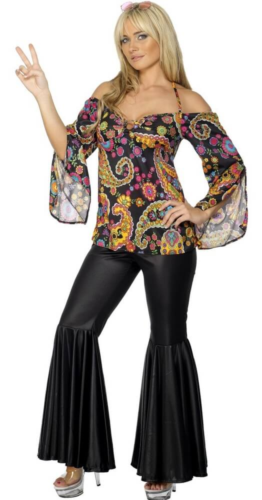 Adult 60's Paisley Top and Black Bell Bottom Pants - Candy Apple ...